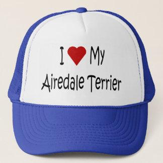 I Liebe meine Airedale-Terrier-Hundegeschenke und Truckerkappe
