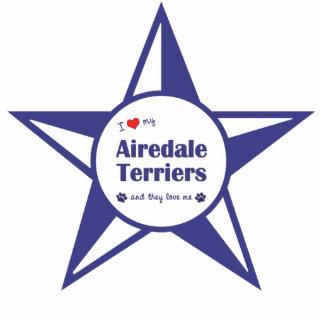 I Liebe meine Airedale-Terrier (mehrfache Hunde) Fotoskulptur Ornament