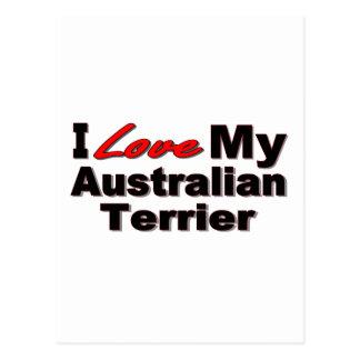 I Liebe meine australischer Terrier-Hundewaren Postkarte