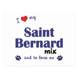 I Liebe meine Bernhardiner-Mischung (männlicher Postkarte