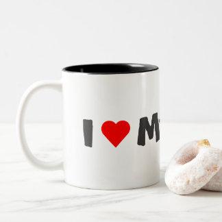 I Liebe meine Boston-Terrier-Tasse Zweifarbige Tasse