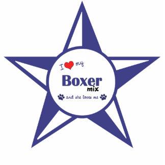 I Liebe meine Boxer-Mischung (weiblicher Hund) Photo Statue