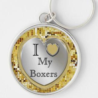 I Liebe meine Boxer oder? Herz Keychain Silberfarbener Runder Schlüsselanhänger