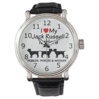 I Liebe meine drei Jack-Russell-Terrier-Hundeuhr Uhr