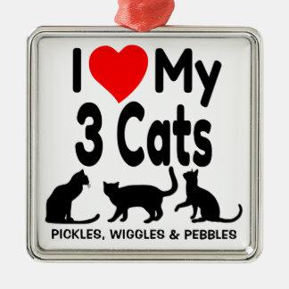 I Liebe meine drei Katzen-Verzierung Quadratisches Silberfarbenes Ornament