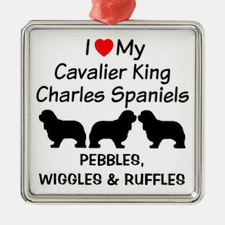 I Liebe meine drei unbekümmerten Königcharles Silbernes Ornament