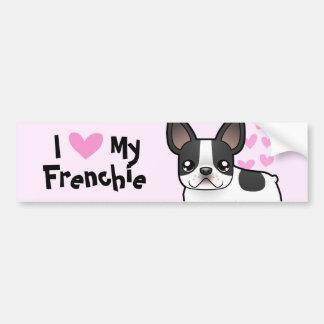 I Liebe meine französische Bulldogge Autosticker