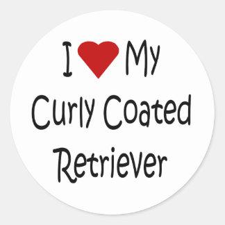 I Liebe meine gelockten überzogenen Retriever-Hund Sticker