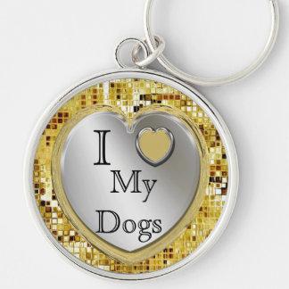 I Liebe meine Hunde oder? Herz Keychain Silberfarbener Runder Schlüsselanhänger