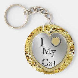 I Liebe meine Katze oder? Herz Keychain Standard Runder Schlüsselanhänger