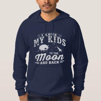 I Liebe meine Kinder zum Mond und zur Rückseite Hoodie