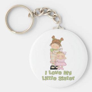 I Liebe meine kleine Schwester-Mädchen Standard Runder Schlüsselanhänger