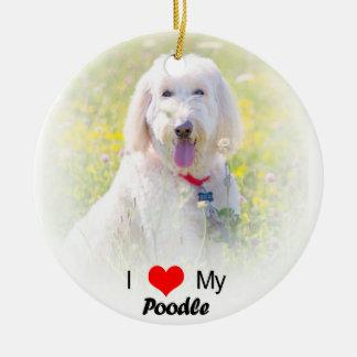 I Liebe meine Pudel-Herz-Weihnachtsverzierung Rundes Keramik Ornament