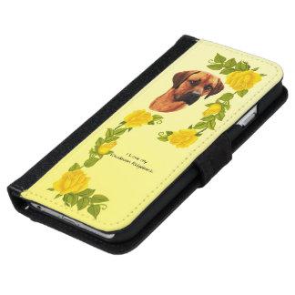 I Liebe meine Rhodesian Ridgeback w/Yellow Rosen iPhone 6/6s Geldbeutel Hülle