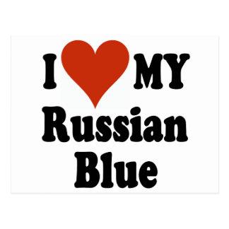 I Liebe meine russischen blaue Katzen-Waren Postkarte