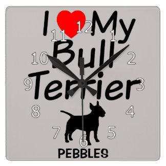I Liebe meine Stier-Terrier-Hundeuhr Quadratische Wanduhr