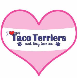 I Liebe meine Taco-Terrier (mehrfache Hunde) Fotoskulptur Ornament