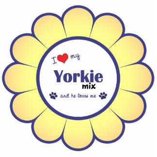 I Liebe meine Yorkie Mischung (männlicher Hund) Photo Skulptur