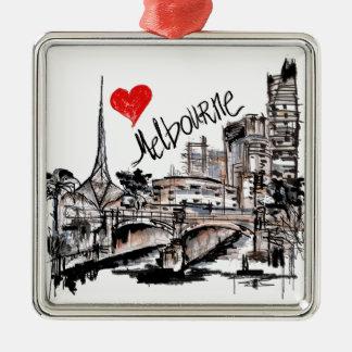 I Liebe Melbourne Silbernes Ornament