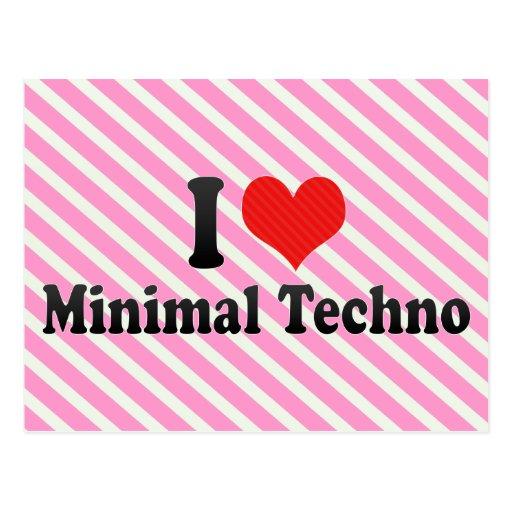 I Liebe minimales Techno Postkarten
