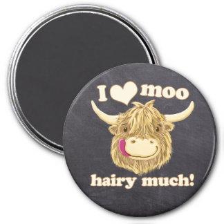 I Liebe-MOO haarig viel! Schottische Kuh Runder Magnet 7,6 Cm