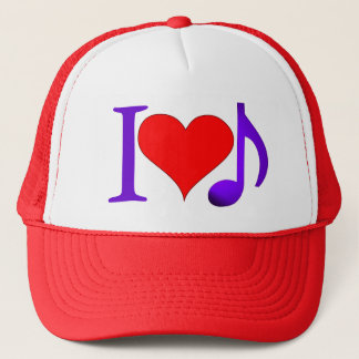 I Love Music Big Red Heart Purple Eighth Note
