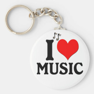 I Liebe-Musik Keychain Standard Runder Schlüsselanhänger