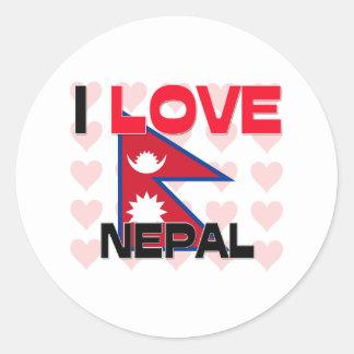 I Liebe Nepal Runder Aufkleber