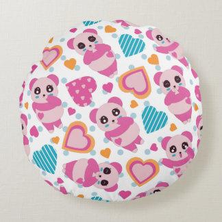 I Liebe-niedliche Pandas Rundes Kissen