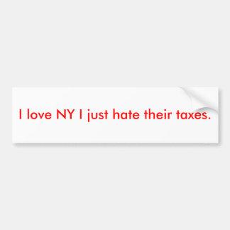 I Liebe NY hasse ich gerade ihre Steuern Autoaufkleber