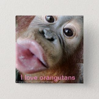 I Liebe-Orang-Utans Quadratischer Button 5,1 Cm