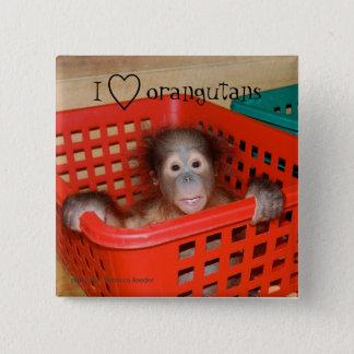 I Liebe-Orang-Utans Tier-Liebhaber Quadratischer Button 5,1 Cm