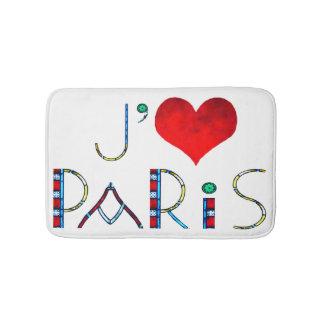 I Liebe Paris in beflecktem Glas Notre Dame Badematte