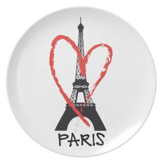 I Liebe Paris mit Eiffel-Turm Teller