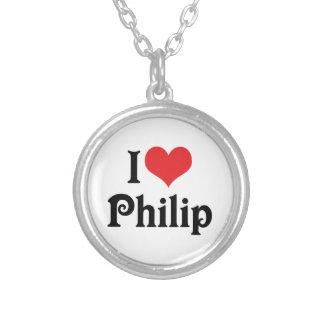 I Liebe Philip Versilberte Kette