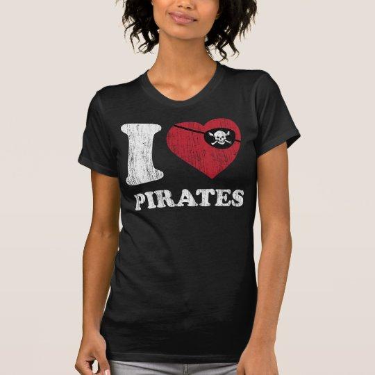 I Liebe-Piraten-cooles Vintages Retro Art-T-Shirt T-Shirt