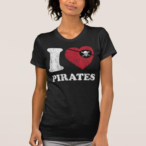 I Liebe-Piraten-cooles Vintages Retro Art-T-Shirt T Shirts