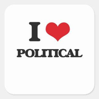I Liebe politisch Quadratischer Aufkleber