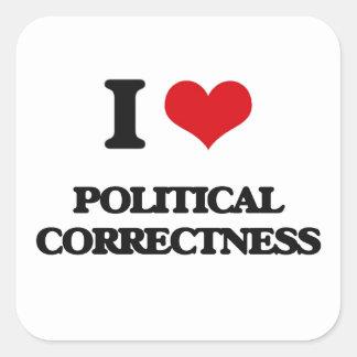 I Liebe-politische Korrektheit Quadratischer Aufkleber