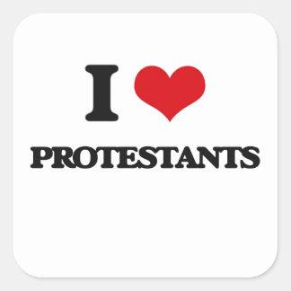 I Liebe-Protestanten Quadrat-Aufkleber
