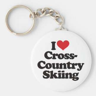 I Liebe-Querland-Skifahren Standard Runder Schlüsselanhänger