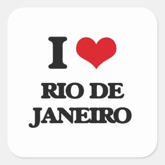 I Liebe Rio de Janeiro Quadrat-Aufkleber