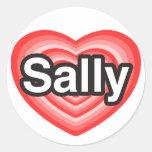 I Liebe Sally. Liebe I Sie Sally. Herz Runder Aufkleber