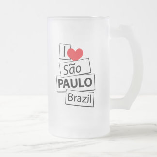 I Liebe Sao-Paulo Brasilien Mattglas Bierglas