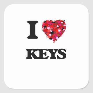 I Liebe-Schlüssel Quadrat-Aufkleber