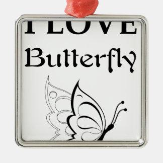 I Liebe-Schmetterling Silbernes Ornament