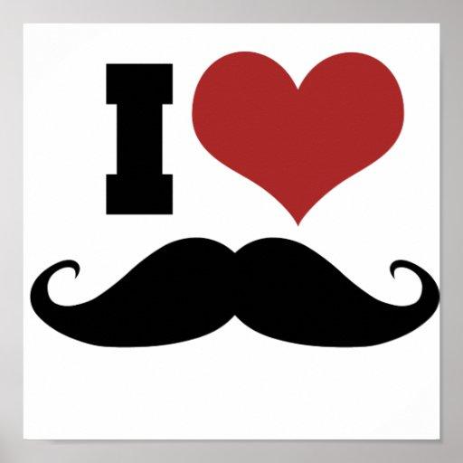 I Liebe-Schnurrbart Plakatdruck