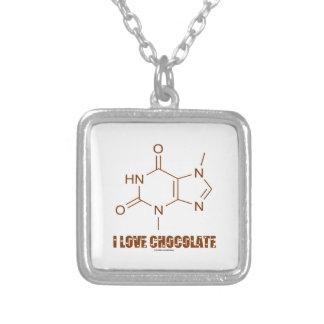 I Liebe-Schokolade (Theobromin-chemisches Molekül) Versilberte Kette