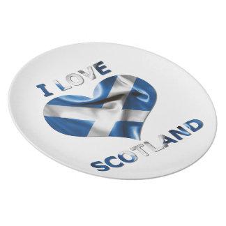 I Liebe-Schottland-Herz-Flagge Teller