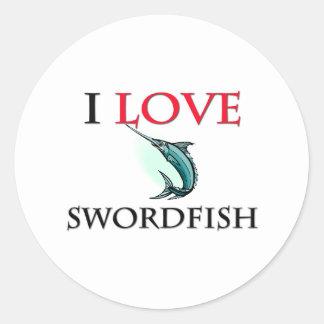I Liebe-Schwertfische Runder Aufkleber
